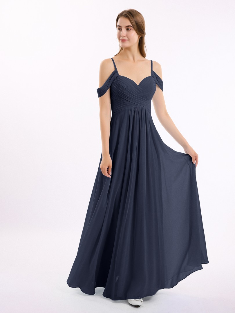 A-line Chiffon Slate Blue Zipper Ruched, Pleated Floor-length Off-the-shoulder Spaghetti Straps Long Bridesmaid Dresses