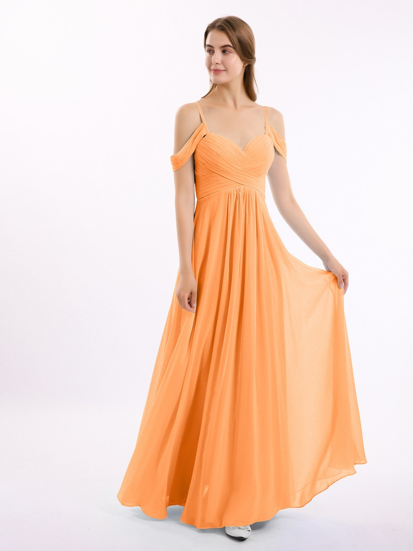 A-line Chiffon Slate Blue Zipper Ruched, Pleated Floor-length Off-the-shoulder Spaghetti Straps New Arrivals