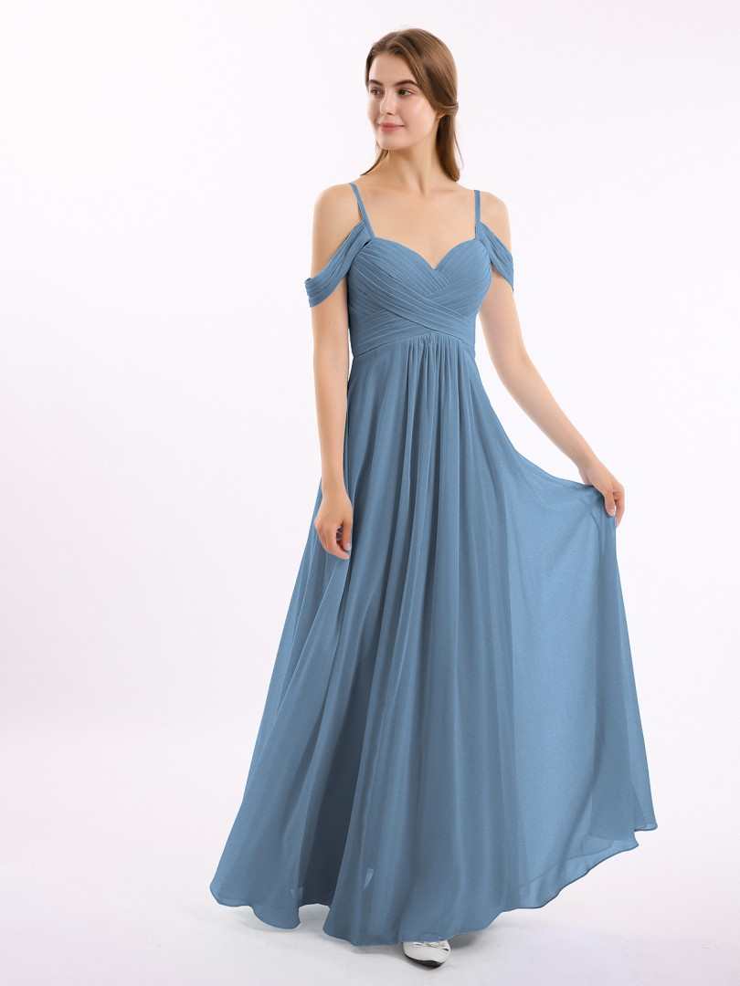 A-line Chiffon Slate Blue Zipper Ruched, Pleated Floor-length Off-the-shoulder Spaghetti Straps Sleeves Bridesmaid Dresses