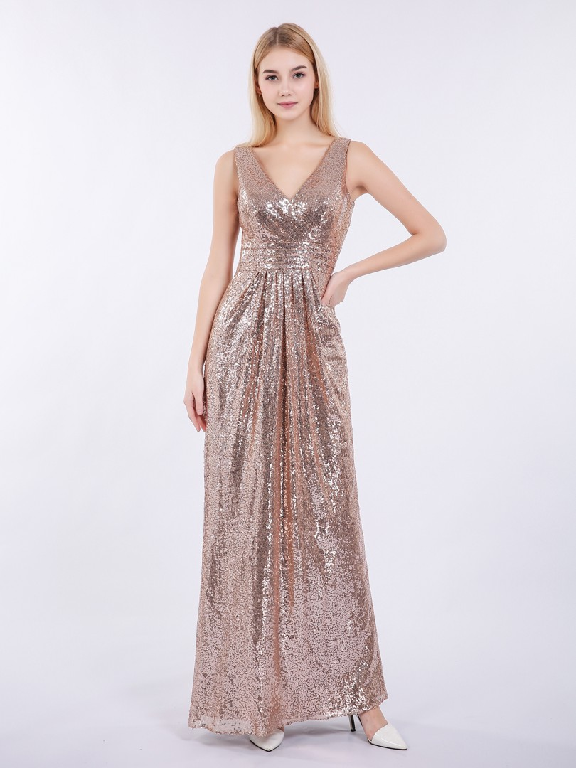 Sheath/Column Sequin Metallic Gold Zipper Pleated Floor-length V-neck Sleeveless Prom Dresses