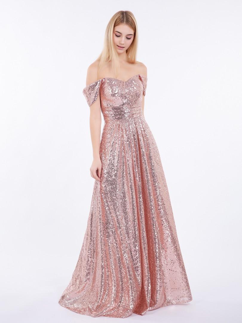 A-line Sequin Rose Gold Zipper Pleated Floor-length Off-the-shoulder Short Lace Bridesmaid Dresses