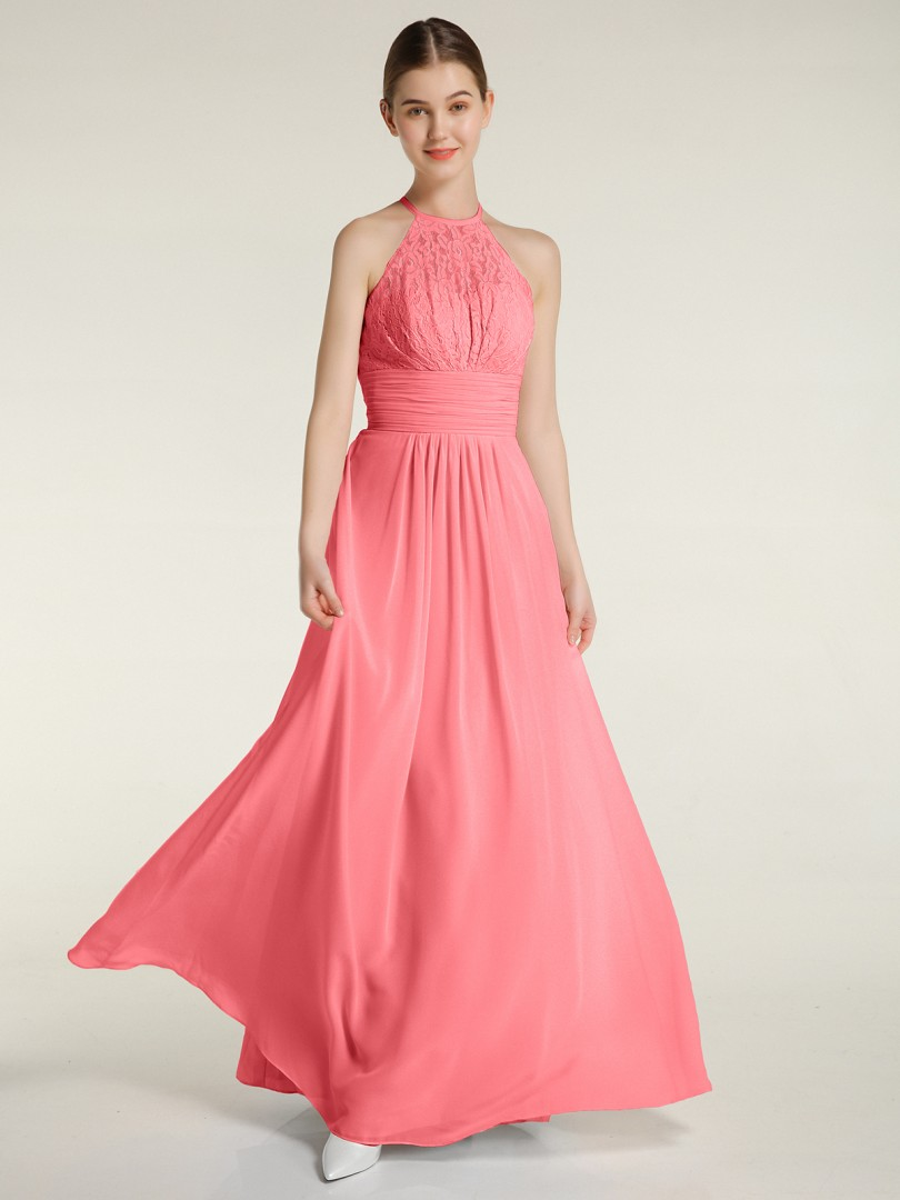 A-line Chiffon Watermelon Zipper Ruched, Pleated Floor-length Halter Sleeveless New Arrivals