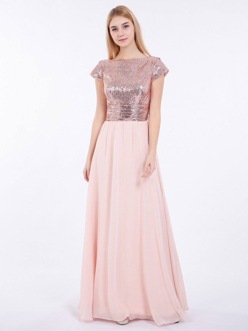 A-line Sequin Rose Gold Zipper Pleated Floor-length Bateau Short Lace Prom Dresses