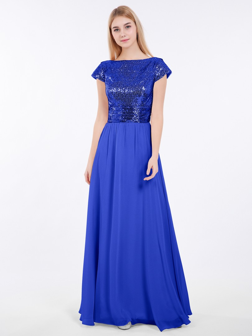 A-line Sequin Rose Gold Zipper Pleated Floor-length Bateau Short New Arrivals