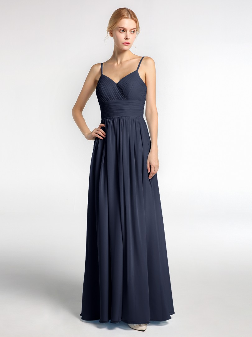 A-line Chiffon Dusty Rose Zipper Ruched, Pleated Floor-length V-neck Spaghetti Straps Long Bridesmaid Dresses