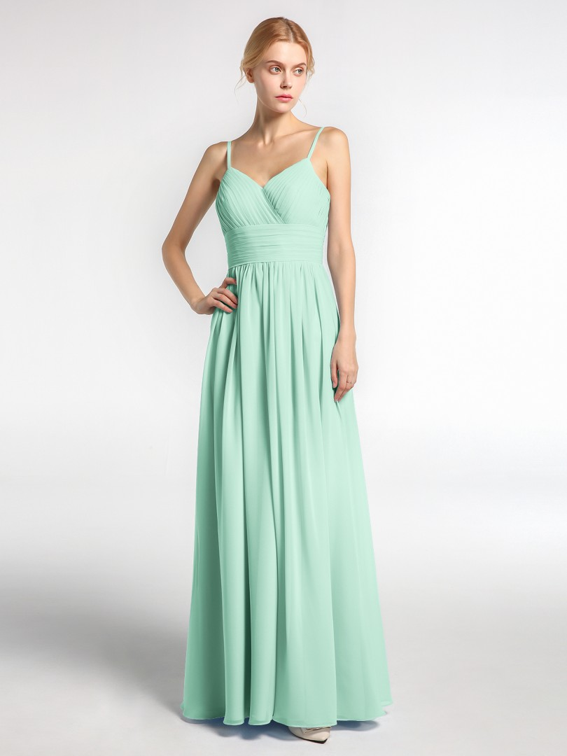 A-line Chiffon Mint Green Zipper Ruched, Pleated Floor-length V-neck Spaghetti Straps Bridesmaid Dresses