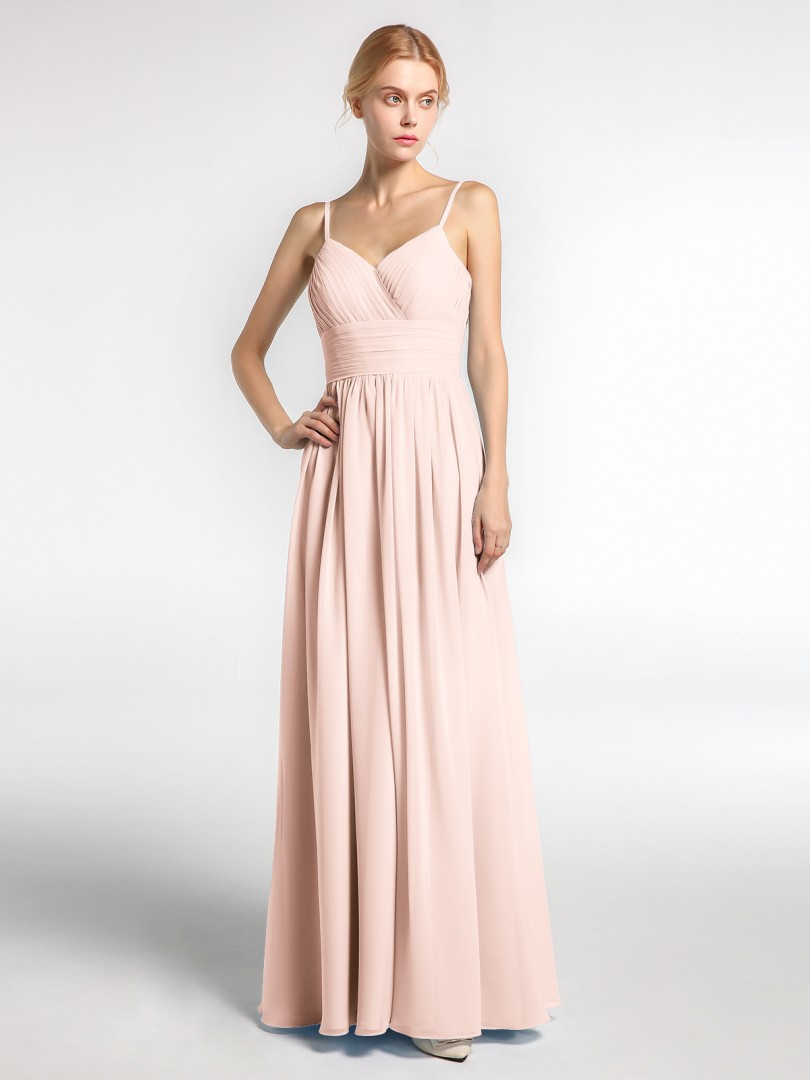 A-line Chiffon Mint Green Zipper Ruched, Pleated Floor-length V-neck Spaghetti Straps Long Bridesmaid Dresses
