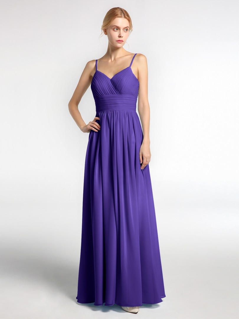 A-line Chiffon Dusty Rose Zipper Ruched, Pleated Floor-length V-neck Spaghetti Straps New Arrivals