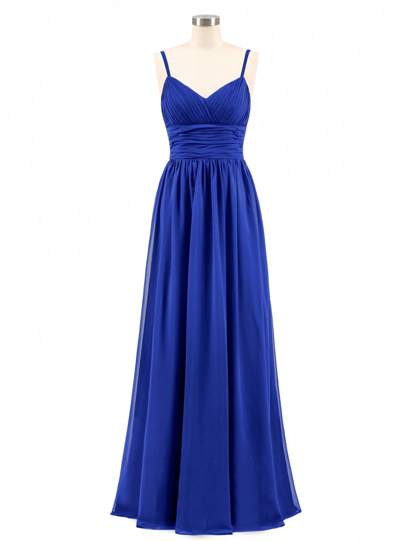 A-line Chiffon Royal Blue Zipper Ruched, Pleated Floor-length V-neck Spaghetti Straps Chiffon Bridesmaid Dresses