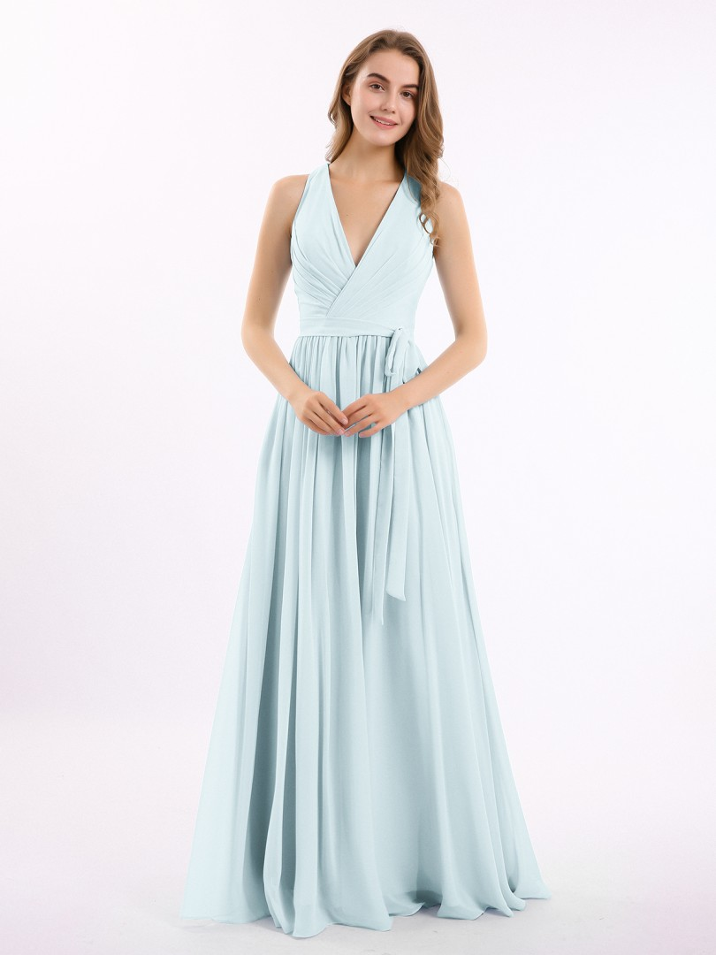 A-line Chiffon Stormy Zipper Ruched, Pleated Floor-length V-neck Sleeveless New Arrivals