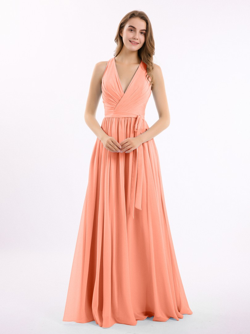 A-line Chiffon Stormy Zipper Ruched, Pleated Floor-length V-neck Sleeveless Long Bridesmaid Dresses