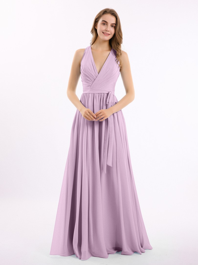 A-line Chiffon Stormy Zipper Ruched, Pleated Floor-length V-neck Sleeveless Bridesmaid Dresses