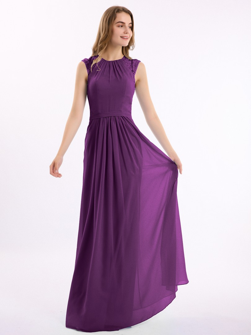 A-line Chiffon Grape Zipper Lace, Pleated Floor-length Scoop Cap Sleeve Long Bridesmaid Dresses