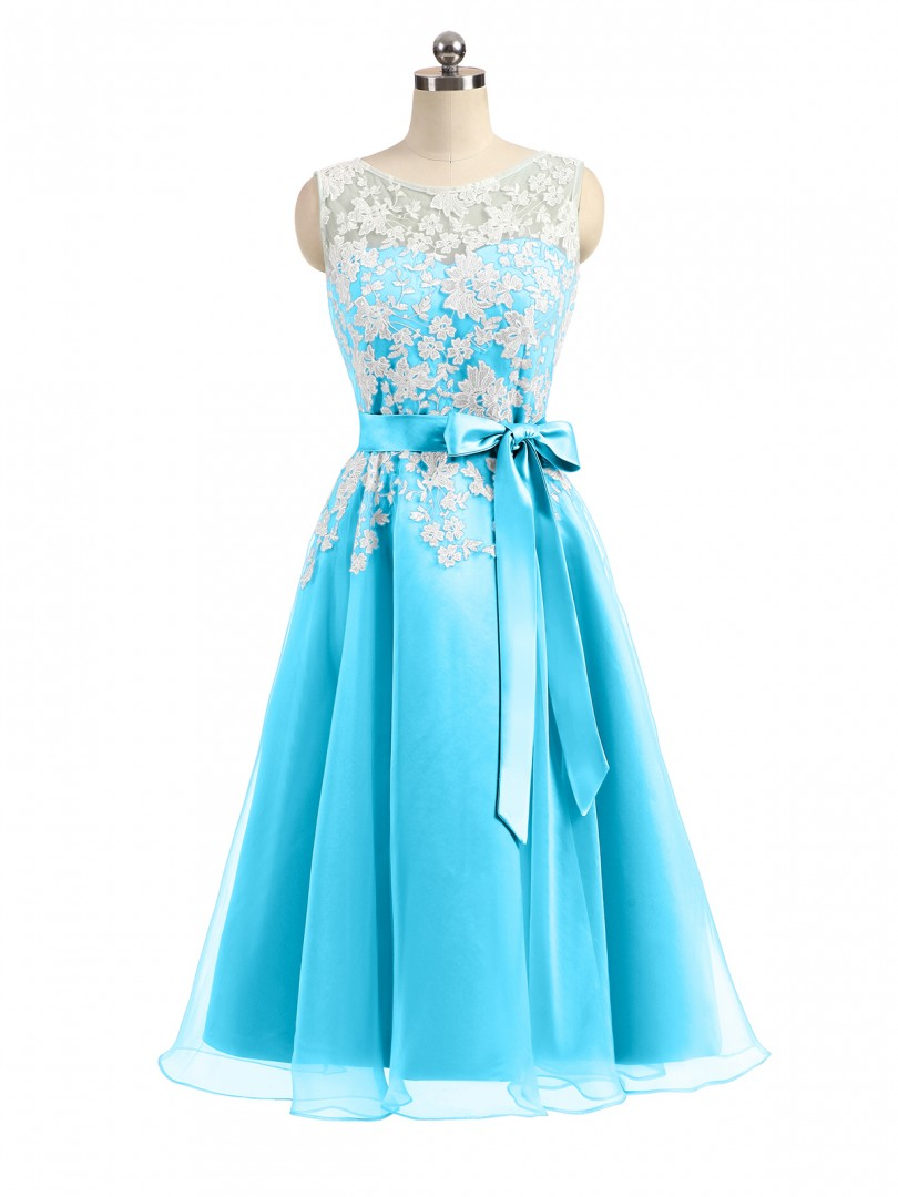 A-line Organza Pool Zipper Appliqued, Bow Tea-length Scoop Sleeveless Prom Dresses