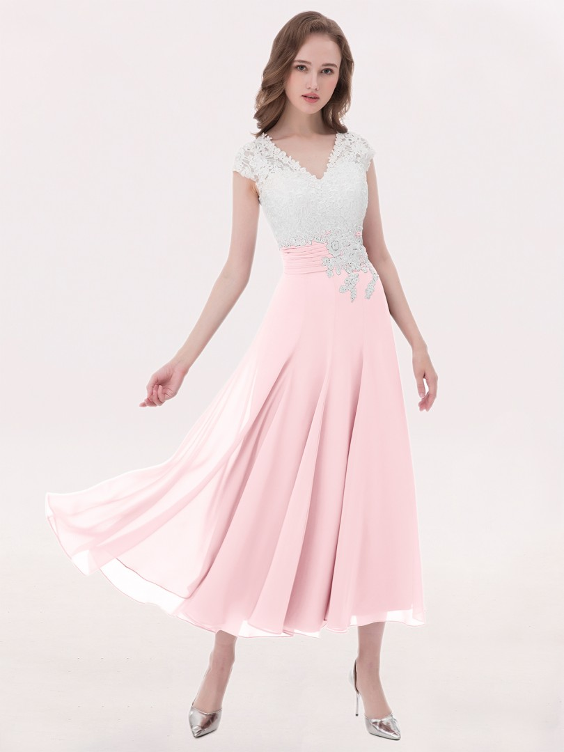A-line Chiffon Silver Zipper Appliqued, Pleated Tea-length V-neck Cap Sleeve Wedding Party