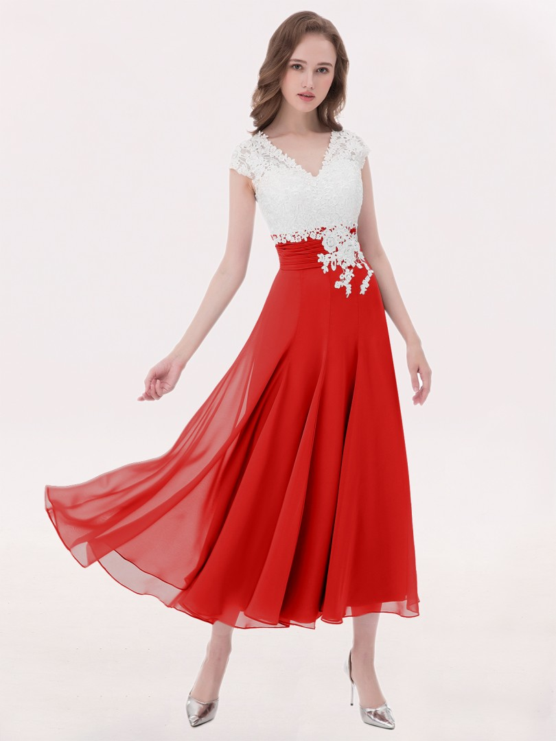 A-line Chiffon Silver Zipper Appliqued, Pleated Tea-length V-neck Cap Sleeve Chiffon Bridesmaid Dresses