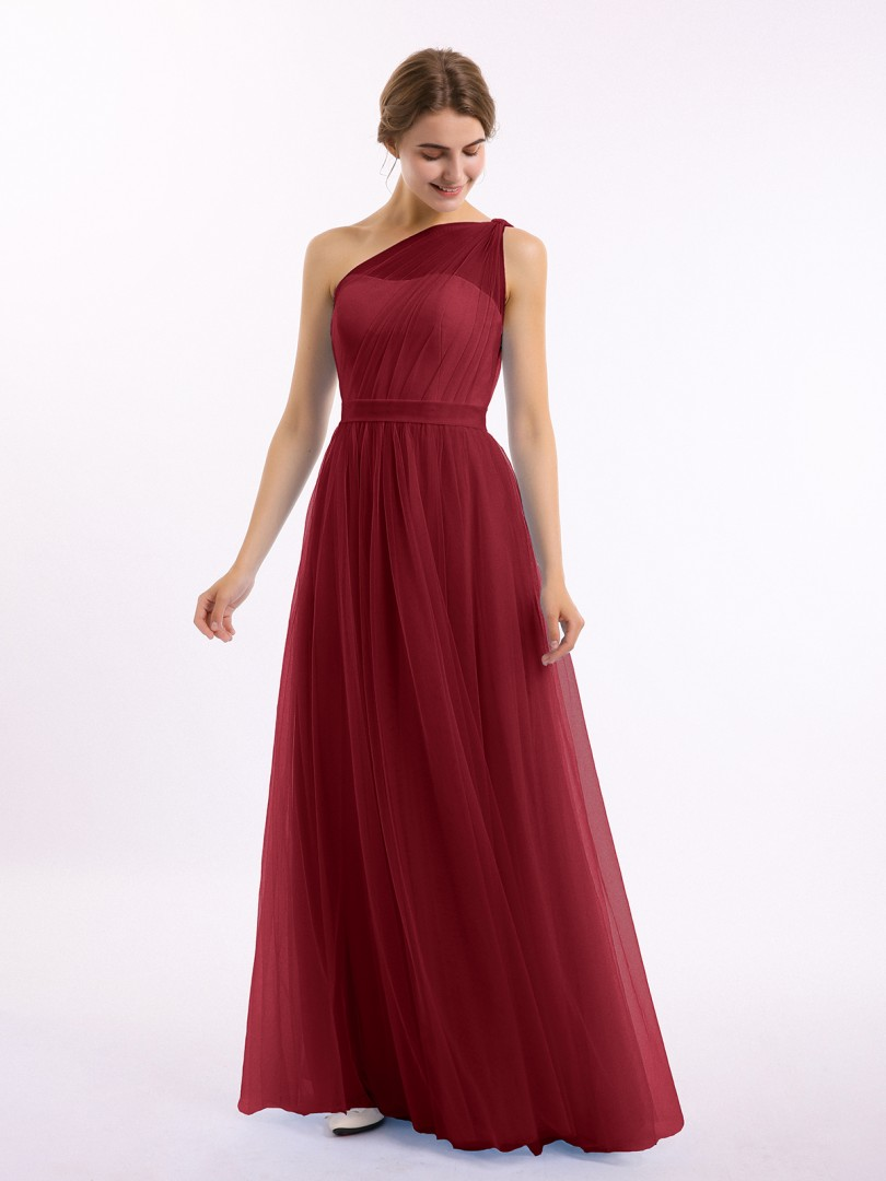 A-line Tulle Tahiti Zipper Side Ruched, Pleated Floor-length One Shoulder Sleeveless Tulle Bridesmaid Dresses