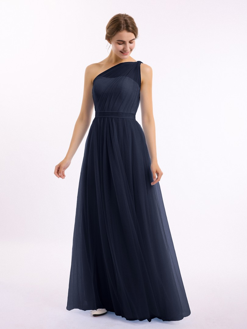 A-line Tulle Tahiti Zipper Side Ruched, Pleated Floor-length One Shoulder Sleeveless New Arrivals