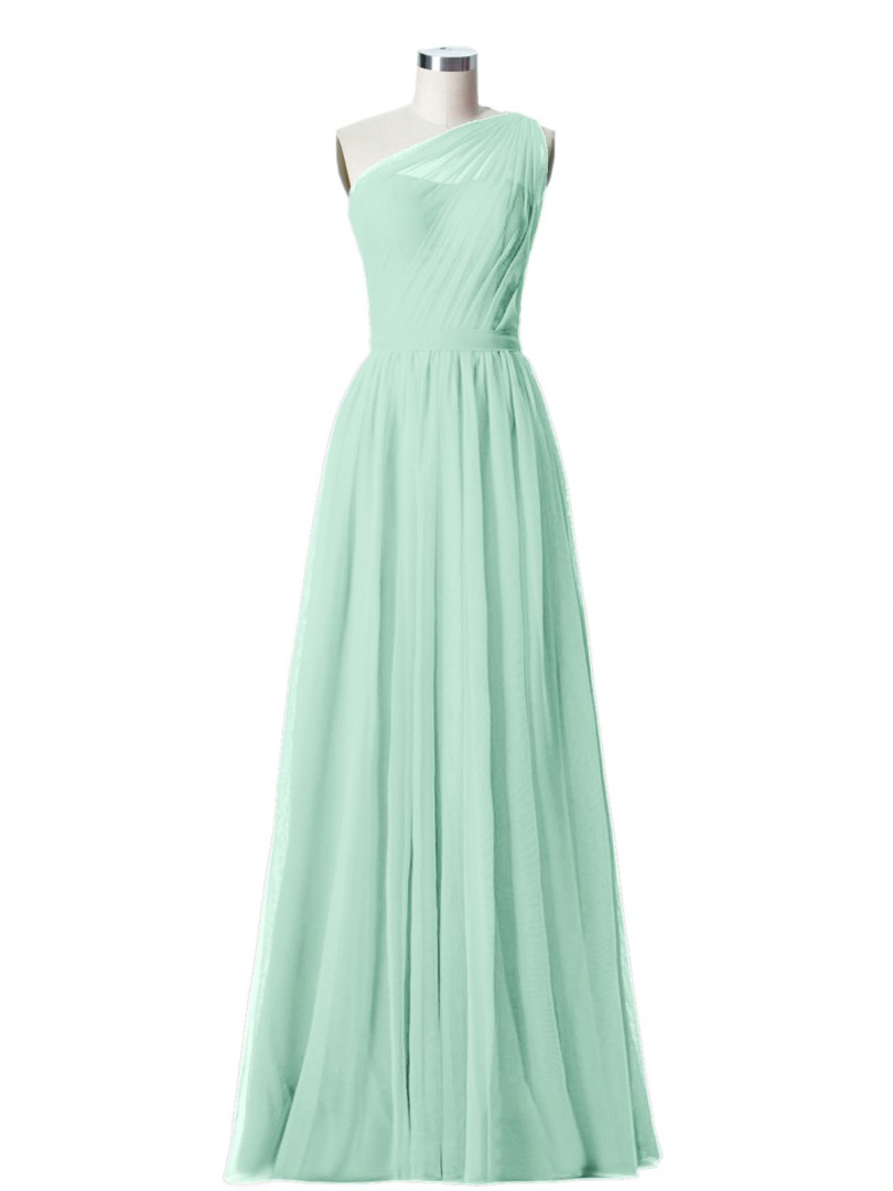 A-line Tulle Moss Zipper Side Ruched, Pleated Floor-length One Shoulder Sleeveless Tulle Bridesmaid Dresses