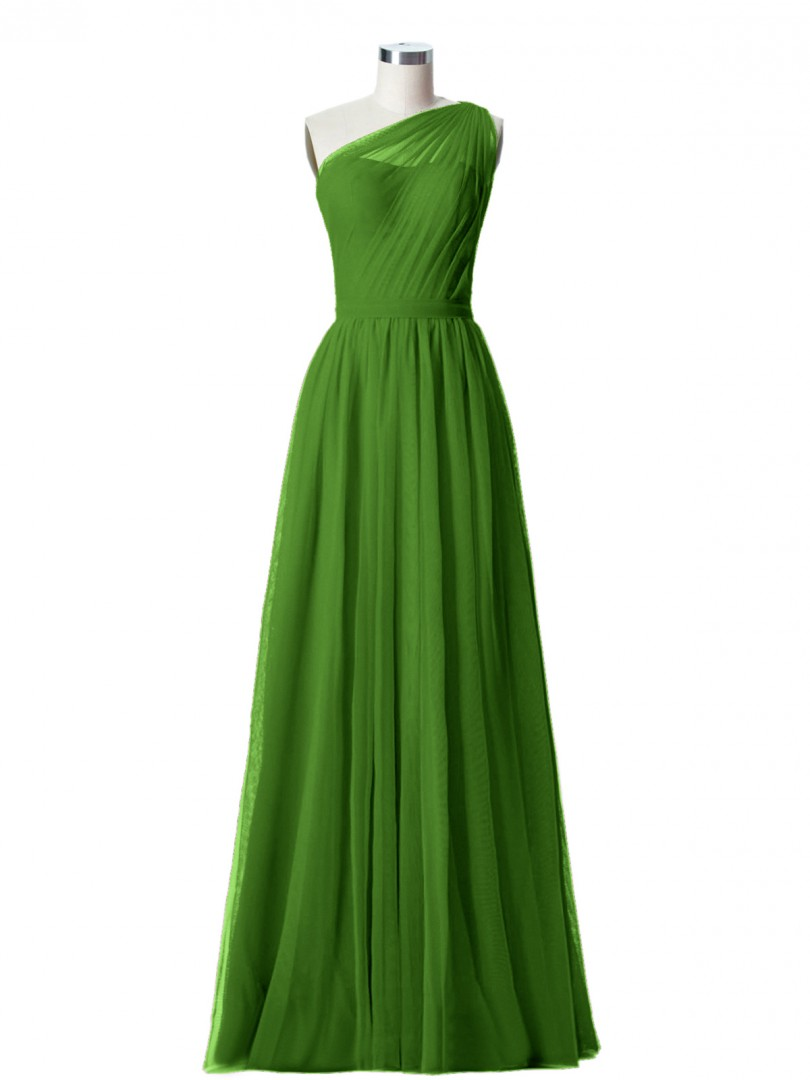 A-line Tulle Moss Zipper Side Ruched, Pleated Floor-length One Shoulder Sleeveless Long Bridesmaid Dresses