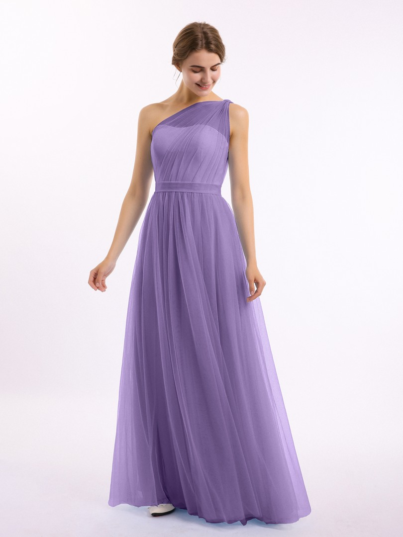 A-line Tulle Tahiti Zipper Side Ruched, Pleated Floor-length One Shoulder Sleeveless Long Bridesmaid Dresses