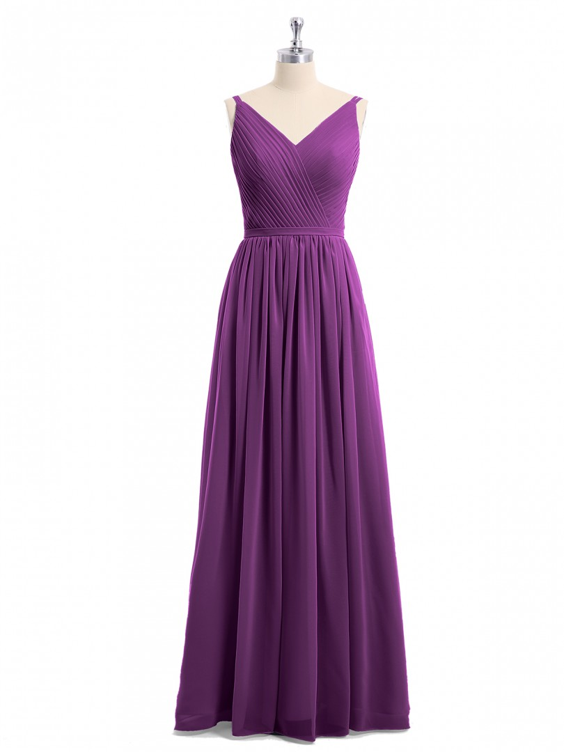 A-line Chiffon Grape Zipper Ruched, Pleated Floor-length V-neck Sleeveless Long Bridesmaid Dresses