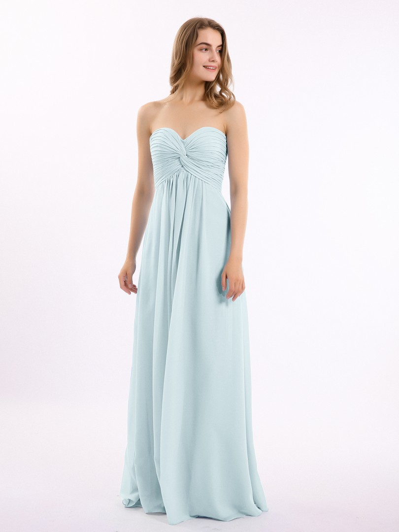A-line Chiffon Slate Blue Zipper Ruched, Pleated Floor-length Sweetheart Sleeveless Long Bridesmaid Dresses