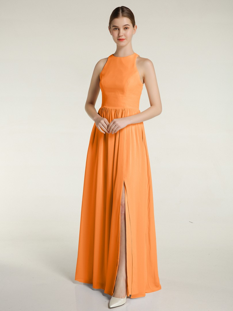 A-line Chiffon Moss Zipper Ruched Floor-length Scoop Sleeveless New Arrivals