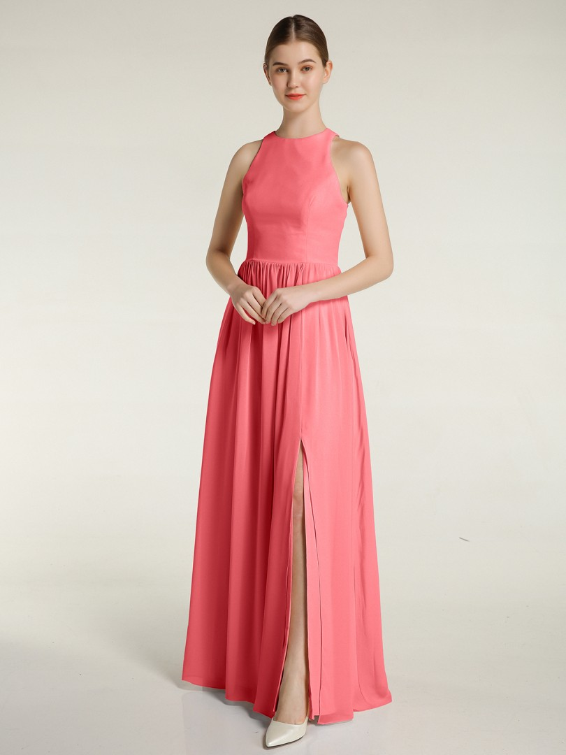 A-line Chiffon Moss Zipper Ruched Floor-length Scoop Sleeveless Long Bridesmaid Dresses