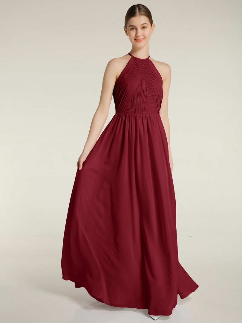 A-line Chiffon Mulberry Backless Ruched, Pleated Floor-length Halter Sleeveless Long Bridesmaid Dresses