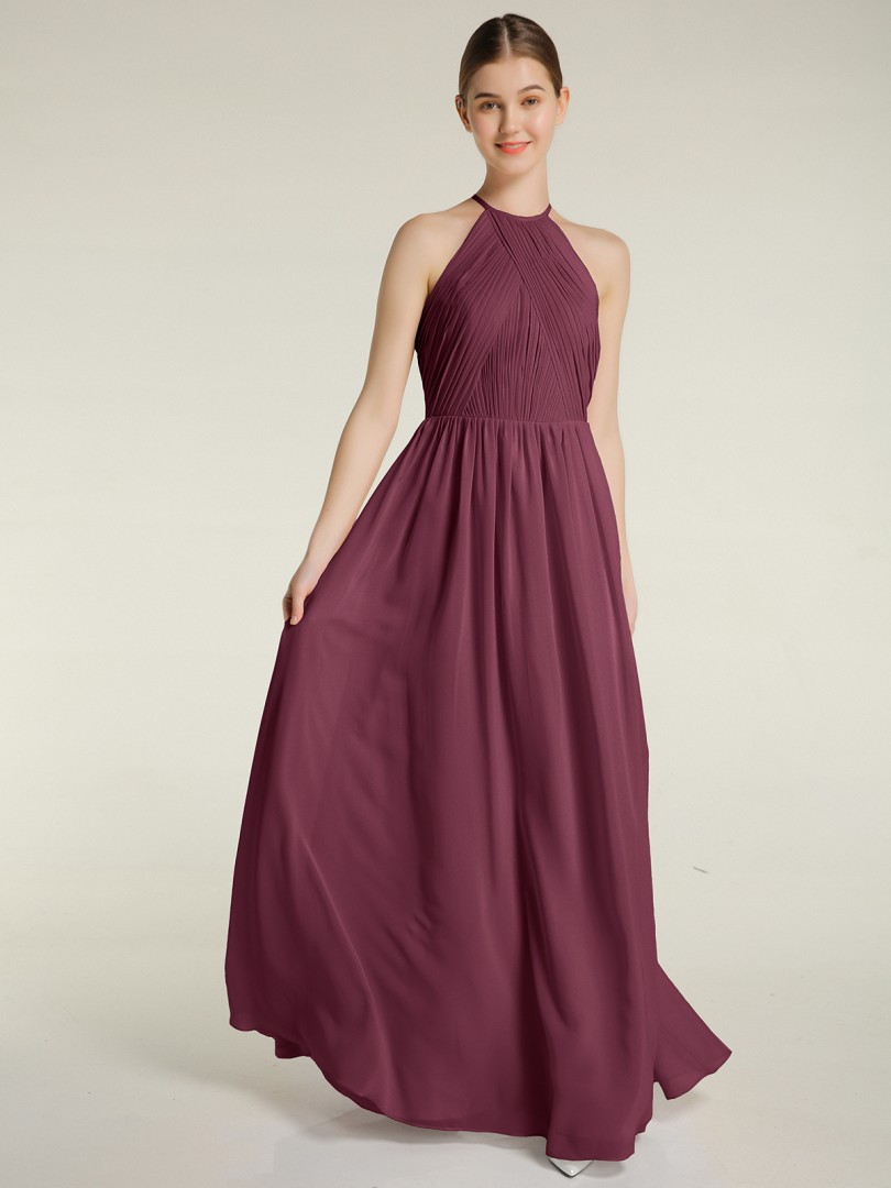 A-line Chiffon Mulberry Backless Ruched, Pleated Floor-length Halter Sleeveless New Arrivals