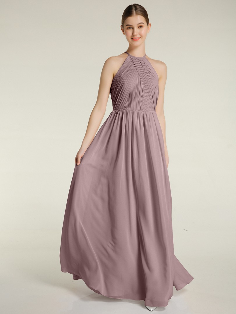 A-line Chiffon Mulberry Backless Ruched, Pleated Floor-length Halter Sleeveless Bridesmaid Dresses