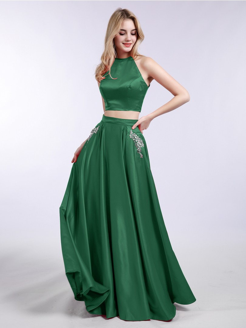 A-line Satin Dark Green Zipper Beaded, Pocket, Rhinestone Floor-length Halter Sleeveless Prom Dresses