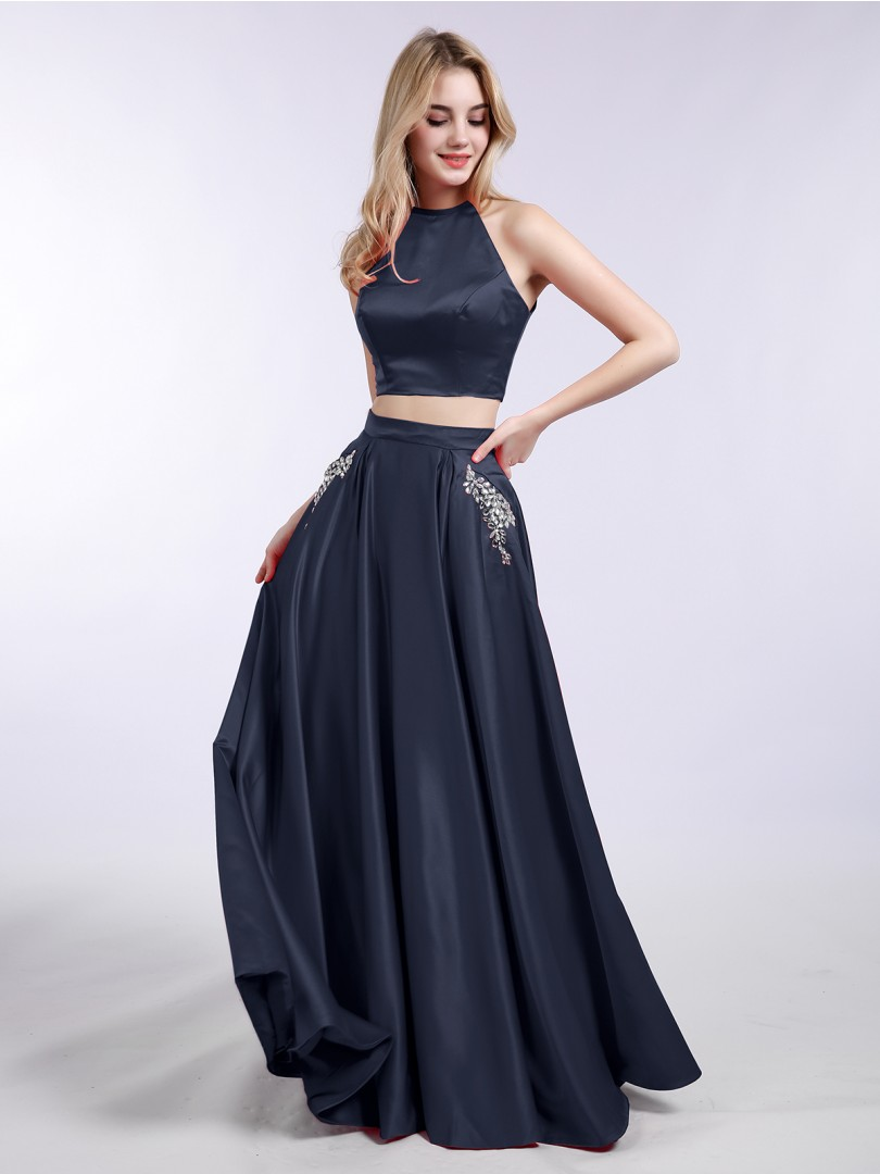 A-line Satin Dark Green Zipper Beaded, Pocket, Rhinestone Floor-length Halter Sleeveless New Arrivals