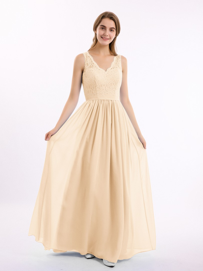 A-line Chiffon Peach Zipper Belt, Lace Floor-length V-neck Sleeveless Lace Bridesmaid Dresses