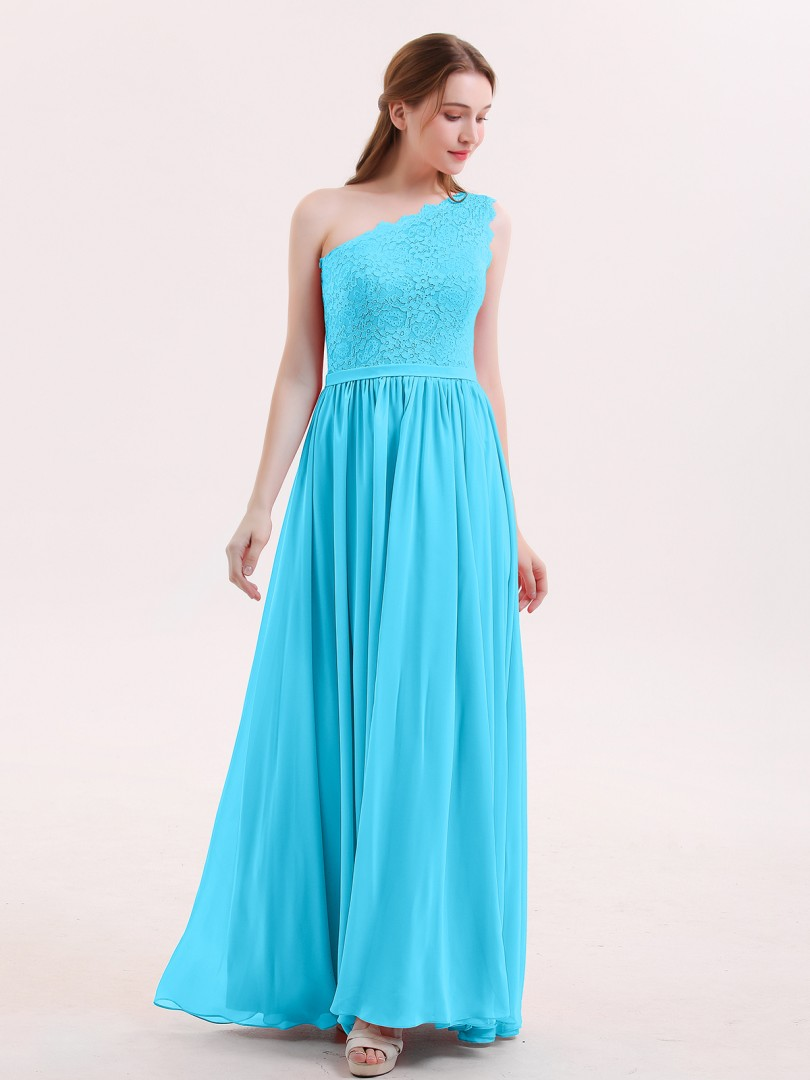 A-line Chiffon Watermelon Zipper Belt, Lace Floor-length One Shoulder Sleeveless Best Sellers