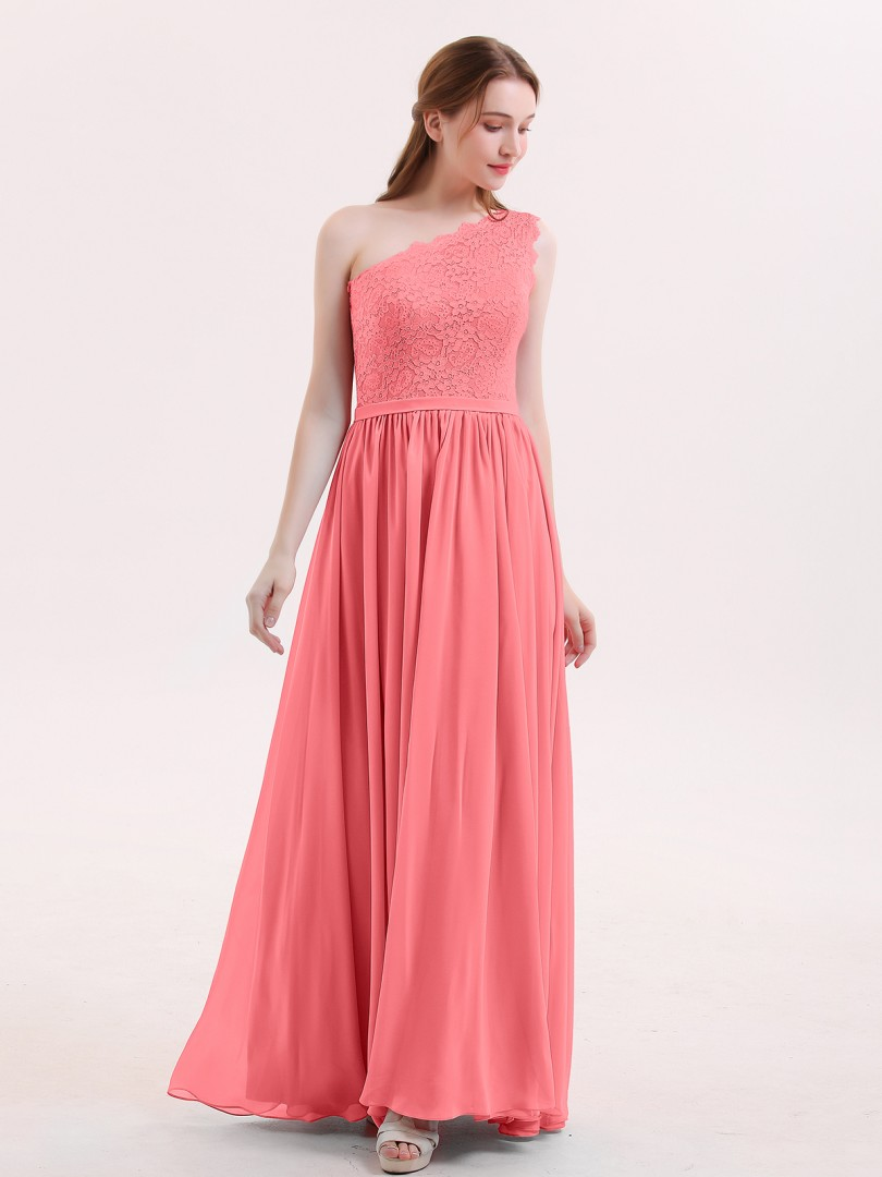 A-line Chiffon Watermelon Zipper Belt, Lace Floor-length One Shoulder Sleeveless Bridesmaid Dresses