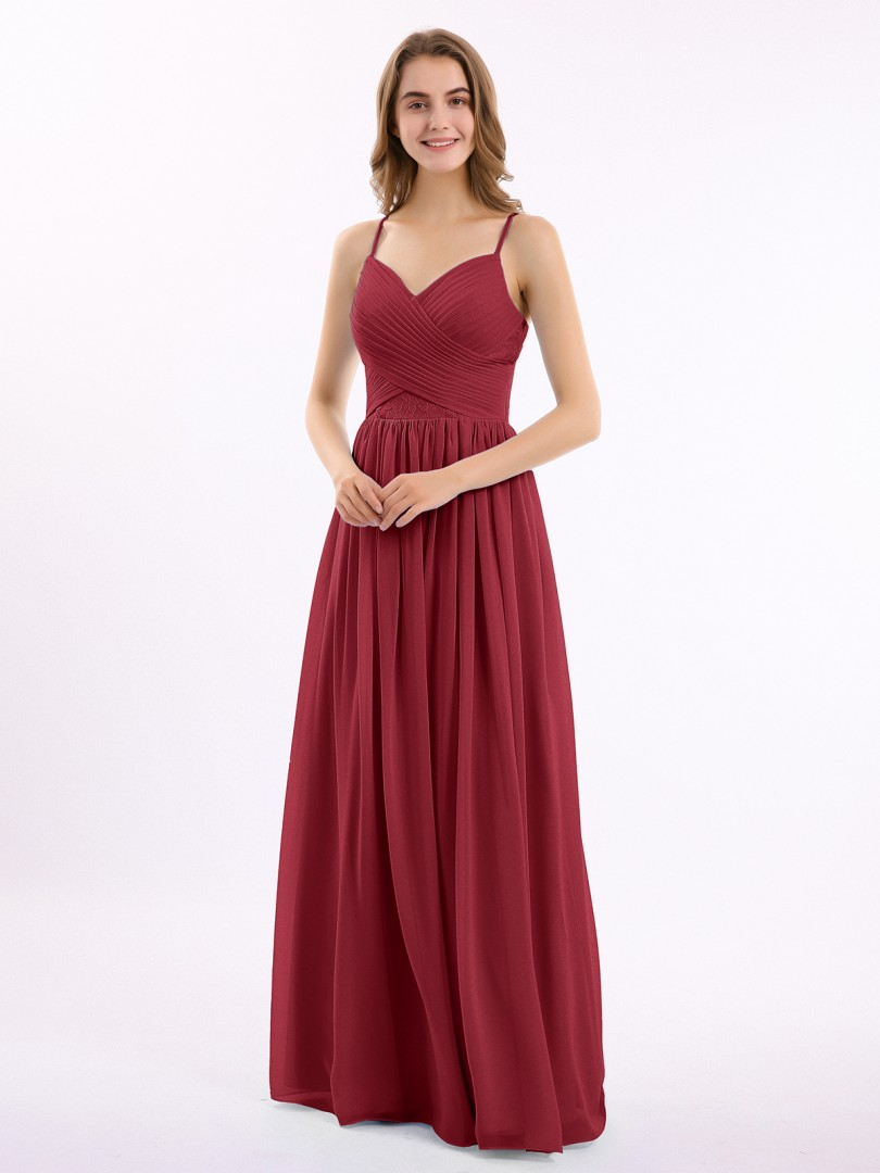 A-line Chiffon Cabernet Zipper Lace, Ruched, Pleated Floor-length Sweetheart Spaghetti Straps New Arrivals