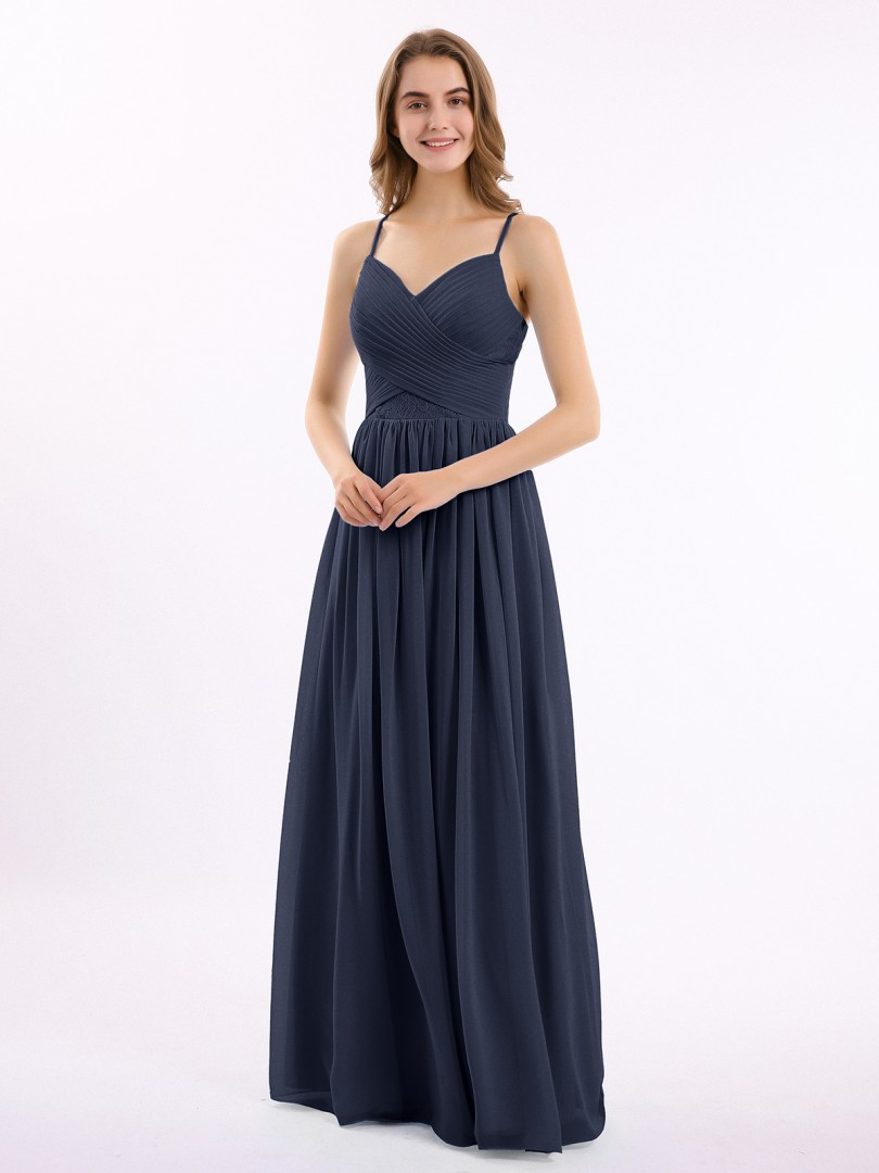 A-line Chiffon Cabernet Zipper Lace, Ruched, Pleated Floor-length Sweetheart Spaghetti Straps Long Bridesmaid Dresses