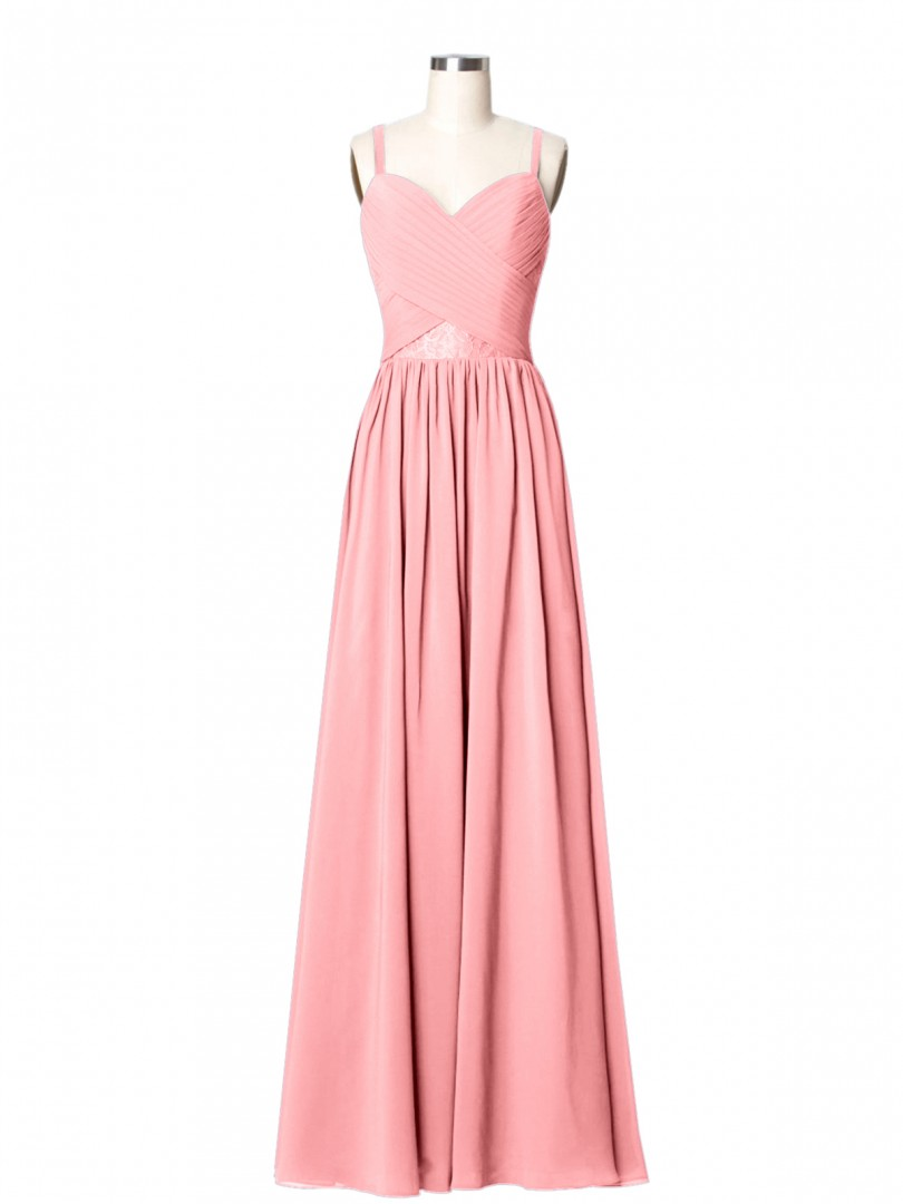 A-line Chiffon Flamingo Zipper Lace, Ruched, Pleated Floor-length Sweetheart Spaghetti Straps Lace Bridesmaid Dresses
