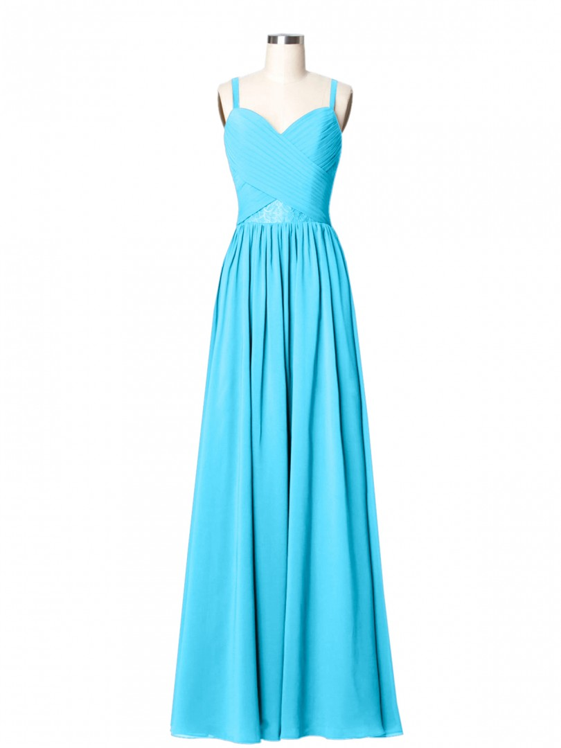 A-line Chiffon Flamingo Zipper Lace, Ruched, Pleated Floor-length Sweetheart Spaghetti Straps Long Bridesmaid Dresses