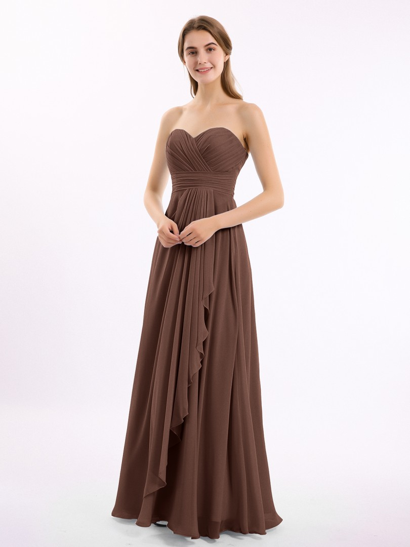 A-line Chiffon Chocolate Zipper Ruched, Pleated Floor-length Sweetheart Sleeveless Bridesmaid Dresses