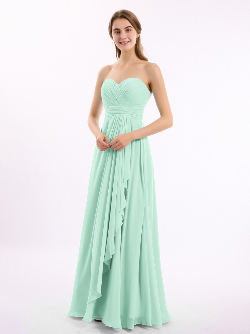 A-line Chiffon Chocolate Zipper Ruched, Pleated Floor-length Sweetheart Sleeveless Long Bridesmaid Dresses