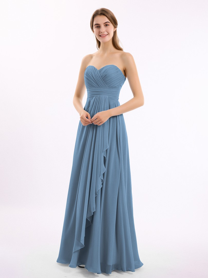 A-line Chiffon Chocolate Zipper Ruched, Pleated Floor-length Sweetheart Sleeveless New Arrivals