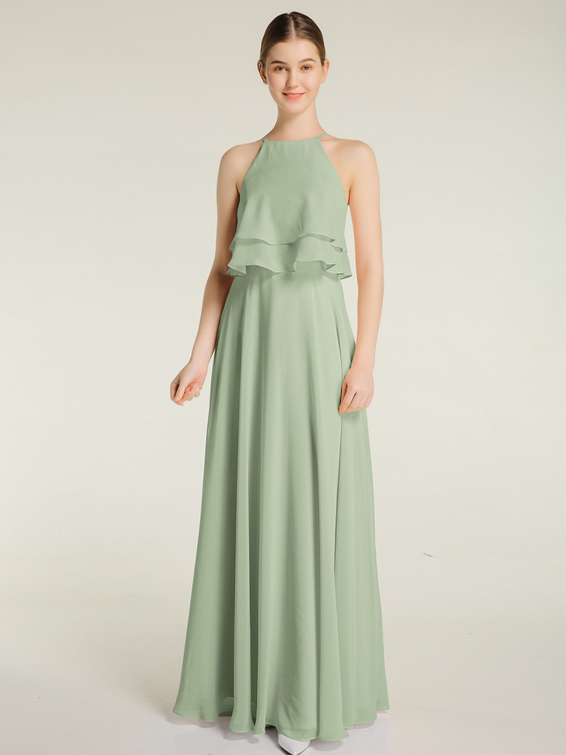 A-line Chiffon Dusty Sage Zipper Ruffle Floor-length Halter Sleeveless Bridesmaid Dresses