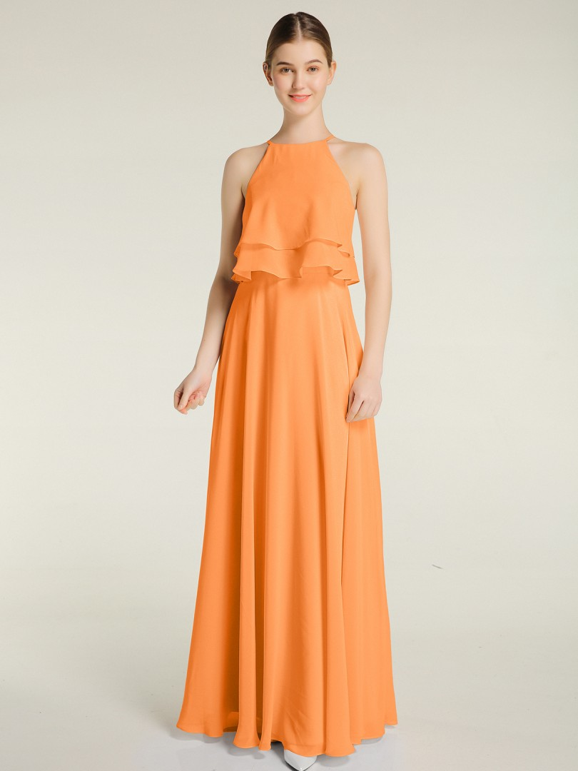 A-line Chiffon Dusty Sage Zipper Ruffle Floor-length Halter Sleeveless New Arrivals