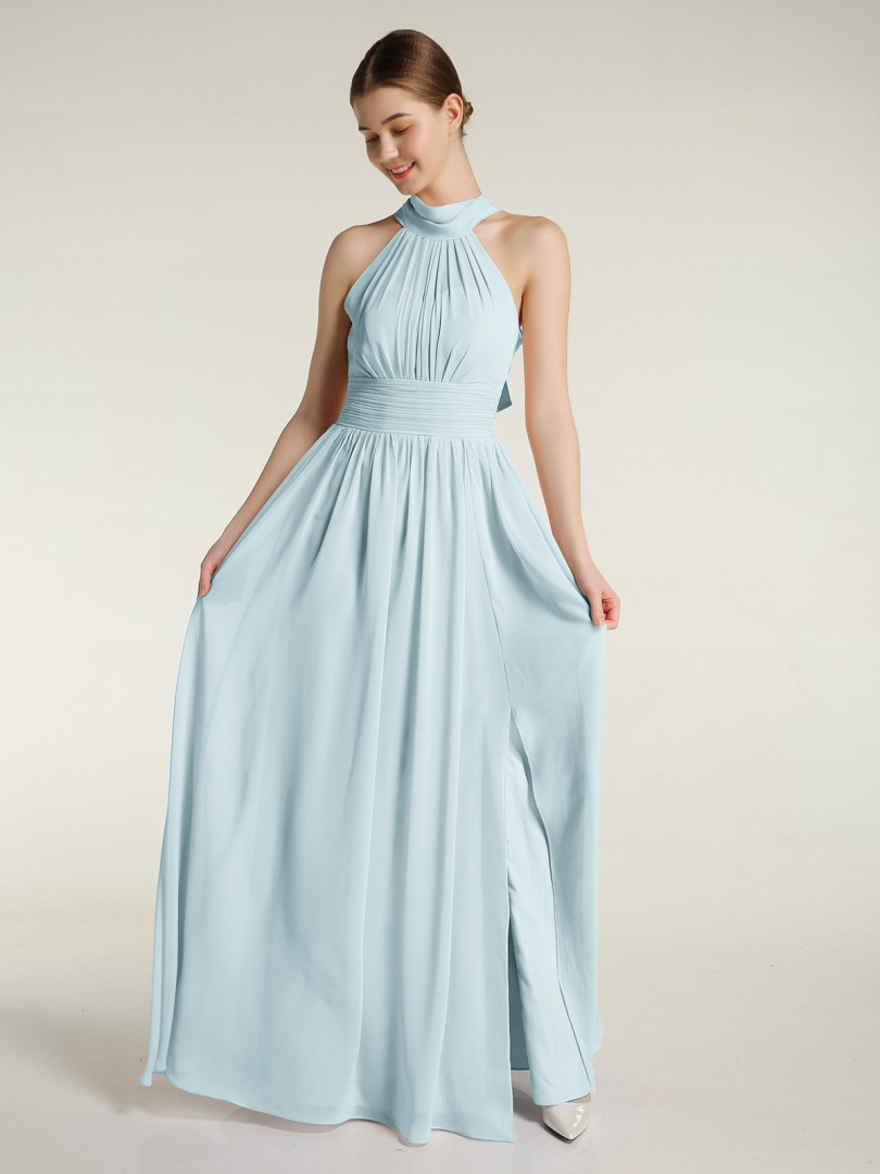 A-line Chiffon Dark Green Zipper Ruched, Pleated Floor-length High Neck Sleeveless New Arrivals