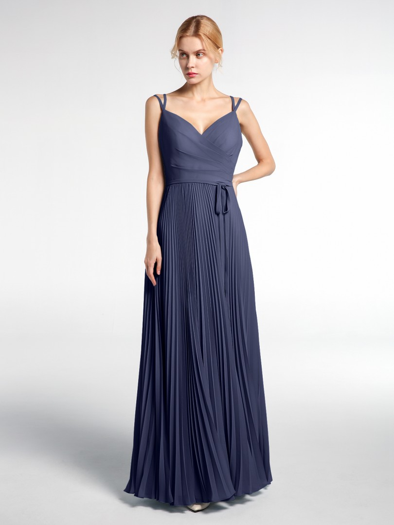 A-line Chiffon Ink Blue Criss-Cross Straps  Floor-length Sweetheart Spaghetti Straps New Arrivals