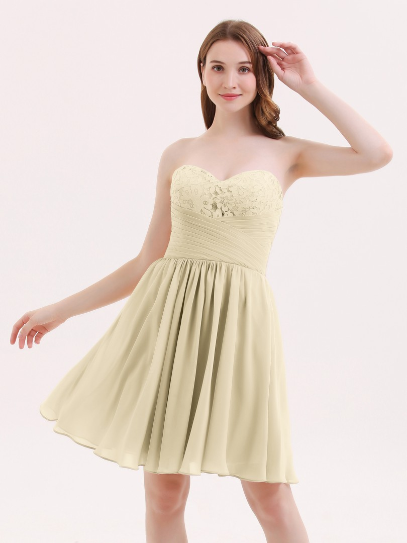 A-line Chiffon Champagne Zipper Lace, Ruched, Pleated Short/Mini Sweetheart Sleeveless Short Bridesmaid Dresses