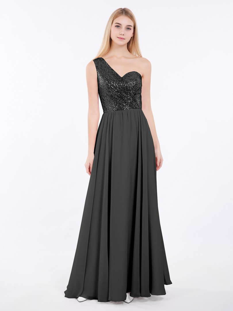 A-line Sequin Rose Gold Criss-Cross Straps Ruched Floor-length One Shoulder Sleeveless New Arrivals